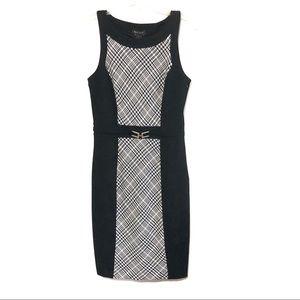 WHBM houndstooth metal buckle Sheath dress